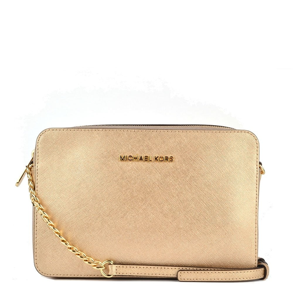 66e6a26214a5 MICHAEL by Michael Kors Jet Set Travel Pale Gold Large Crossbody