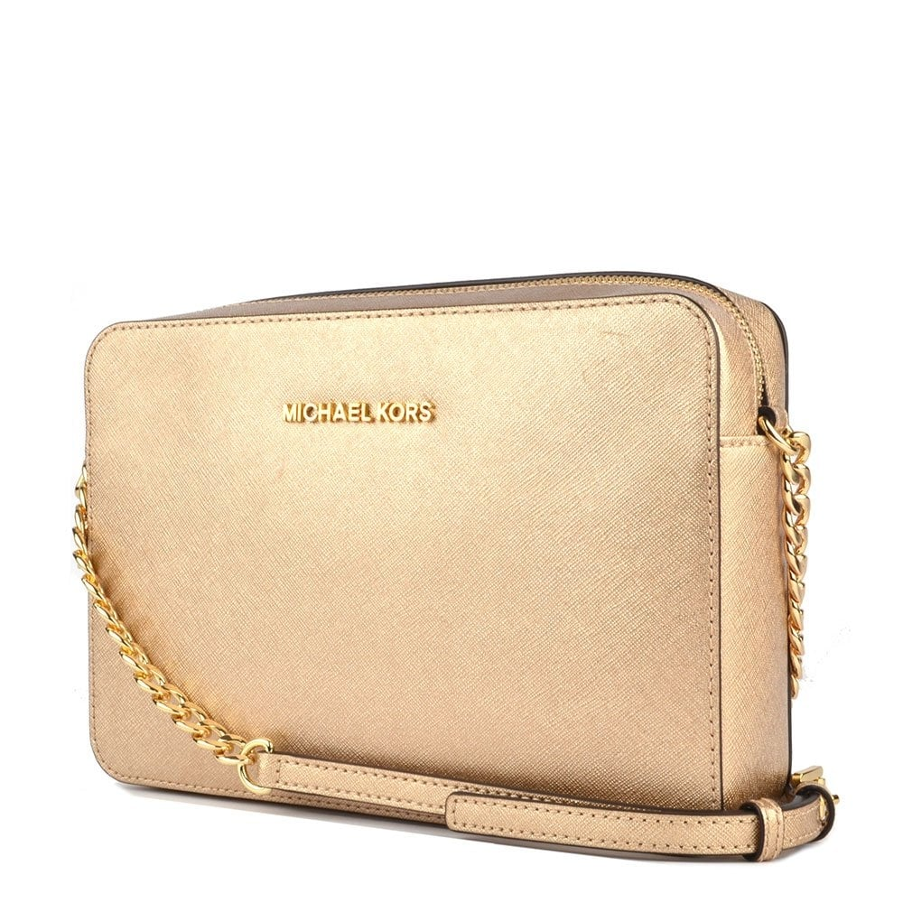 MICHAEL by Michael Kors Jet Set Travel Pale Gold Large Crossbody