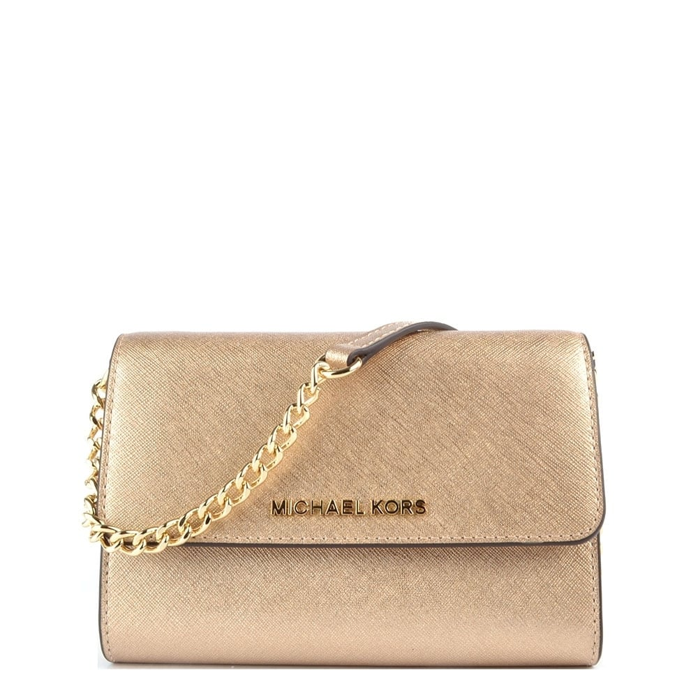 Michael Kors Crossbody Laukut : Michael kors jet set travel pale gold large phone