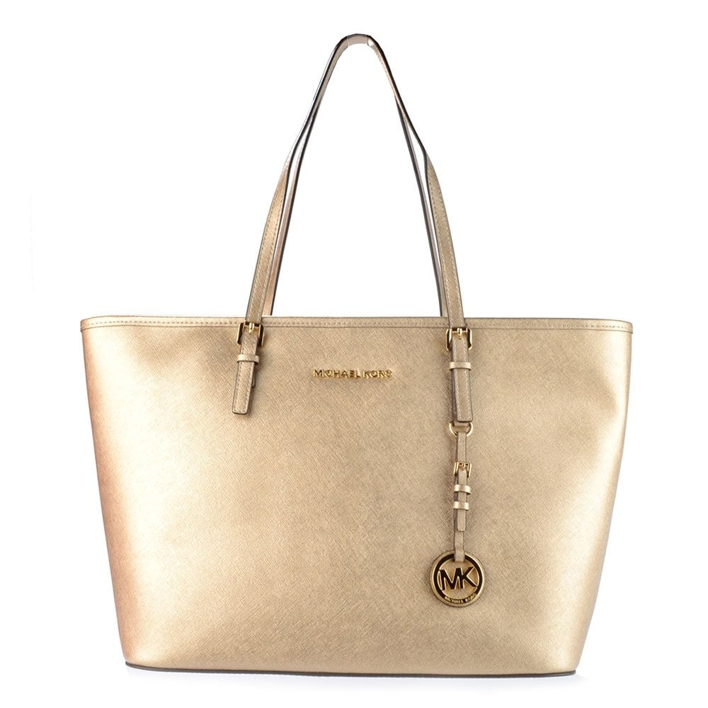 2745dd3103b3 MICHAEL by Michael Kors Jet Set Travel Pale Gold Top Zip Tote