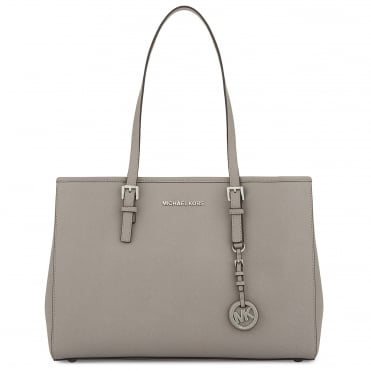 Jet Set Travel Pearl Grey Leather Tote