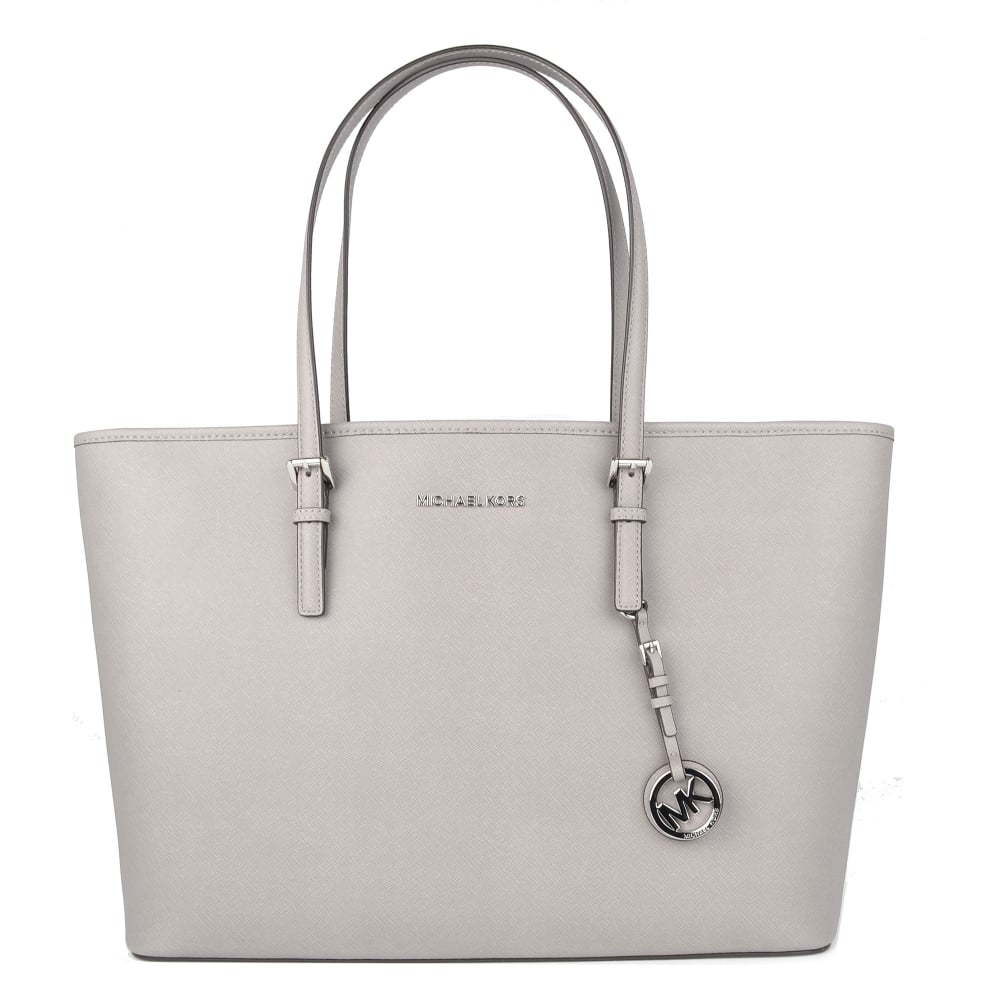 f6874ad9311433 MICHAEL by Michael Kors Jet Set Travel Pearl Grey Multifunctional Top Zip  Tote