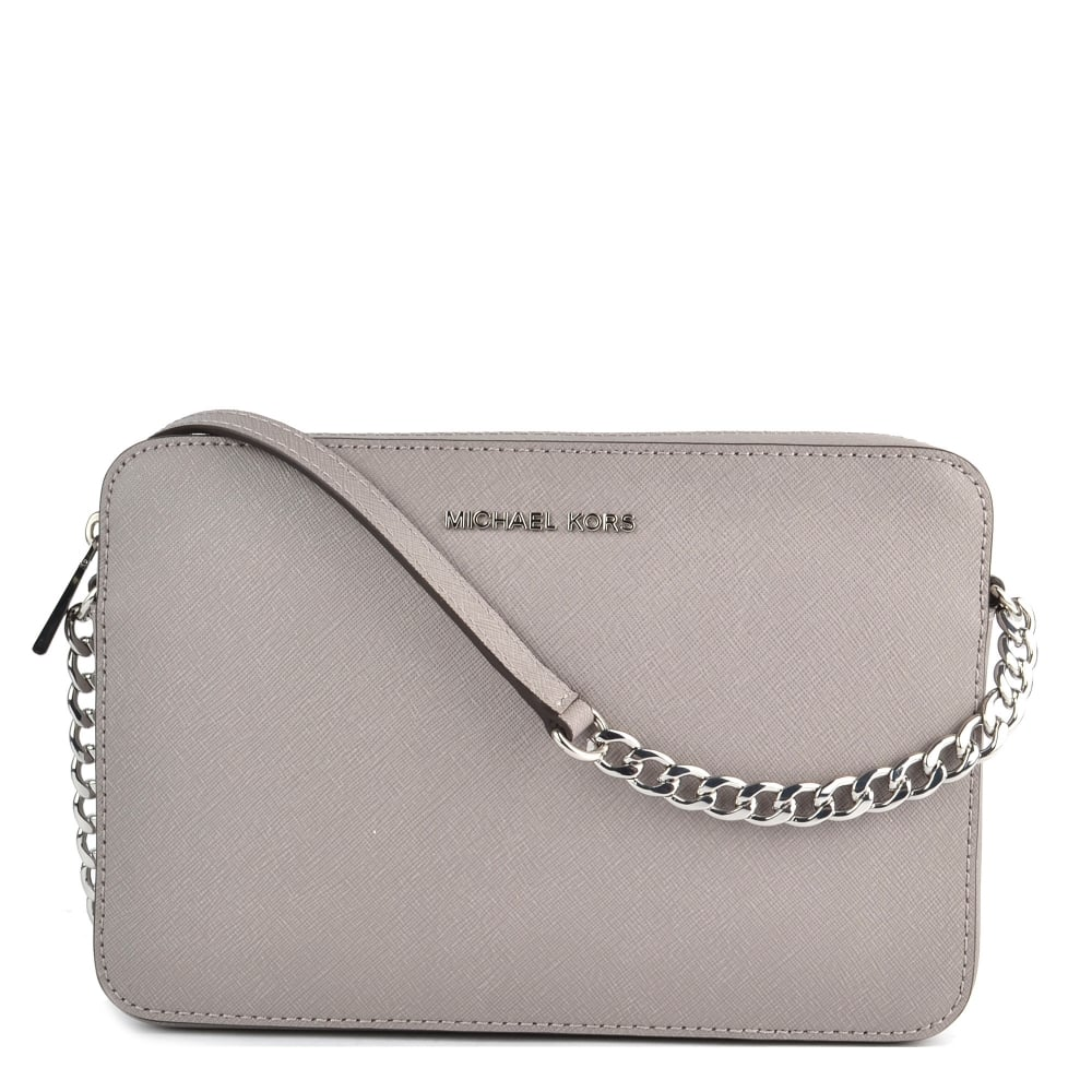 51c9b8e68fb718 MICHAEL by Michael Kors Jet Set Travel Pearl Grey Saffiano Leather Large  Crossbody