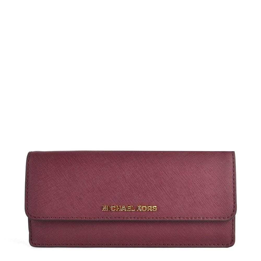04e93e136d51b MICHAEL MICHAEL KORS Jet Set Travel Plum  Purple  Flat Wallet