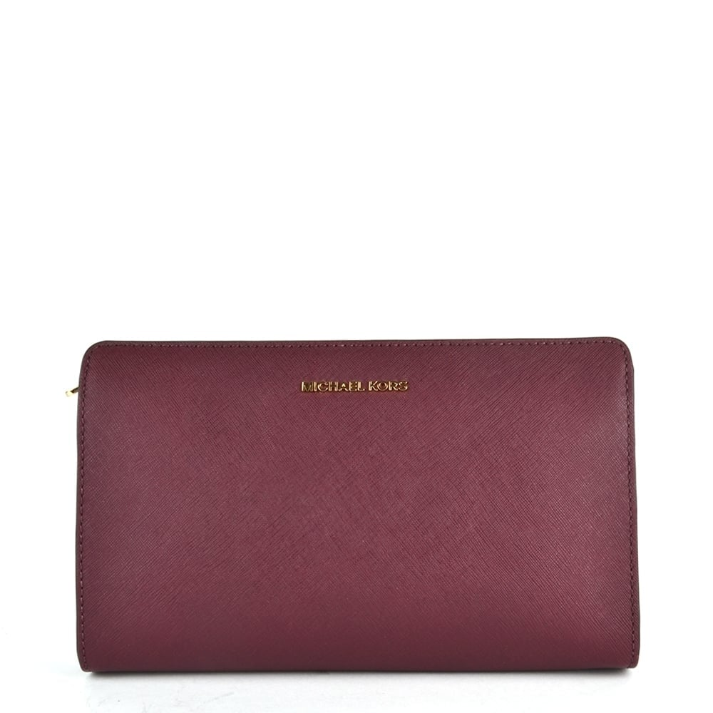 7d59d08db06b71 MICHAEL by Michael Kors Jet Set Travel Plum Large Crossbody Clutch