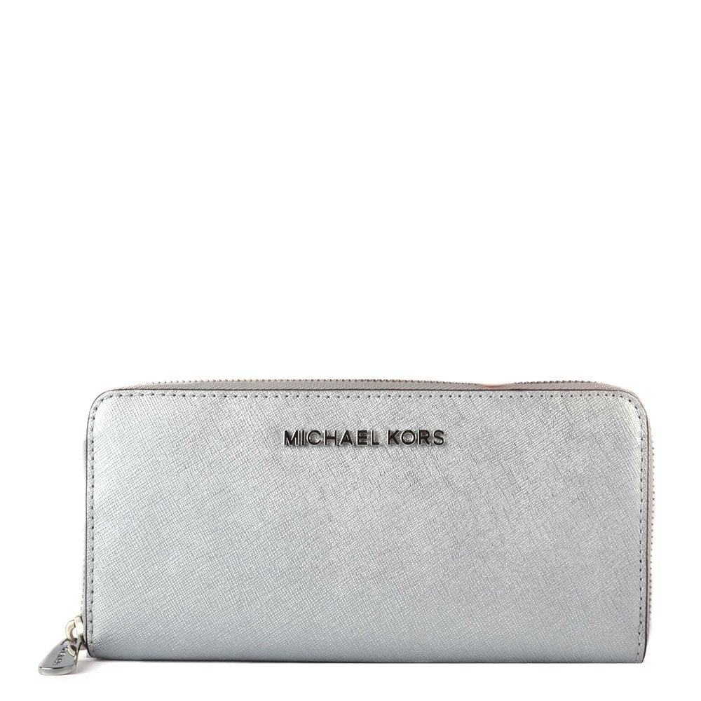 8a1b2fb83022b9 MICHAEL by Michael Kors Jet Set Travel Silver Continental Wallet