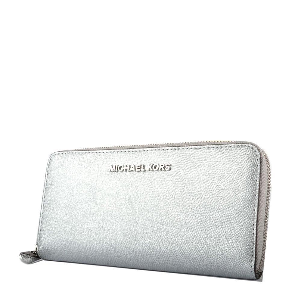 7e9e45091048f9 MICHAEL Michael Kors Jet Set Travel Silver Continental Wallet