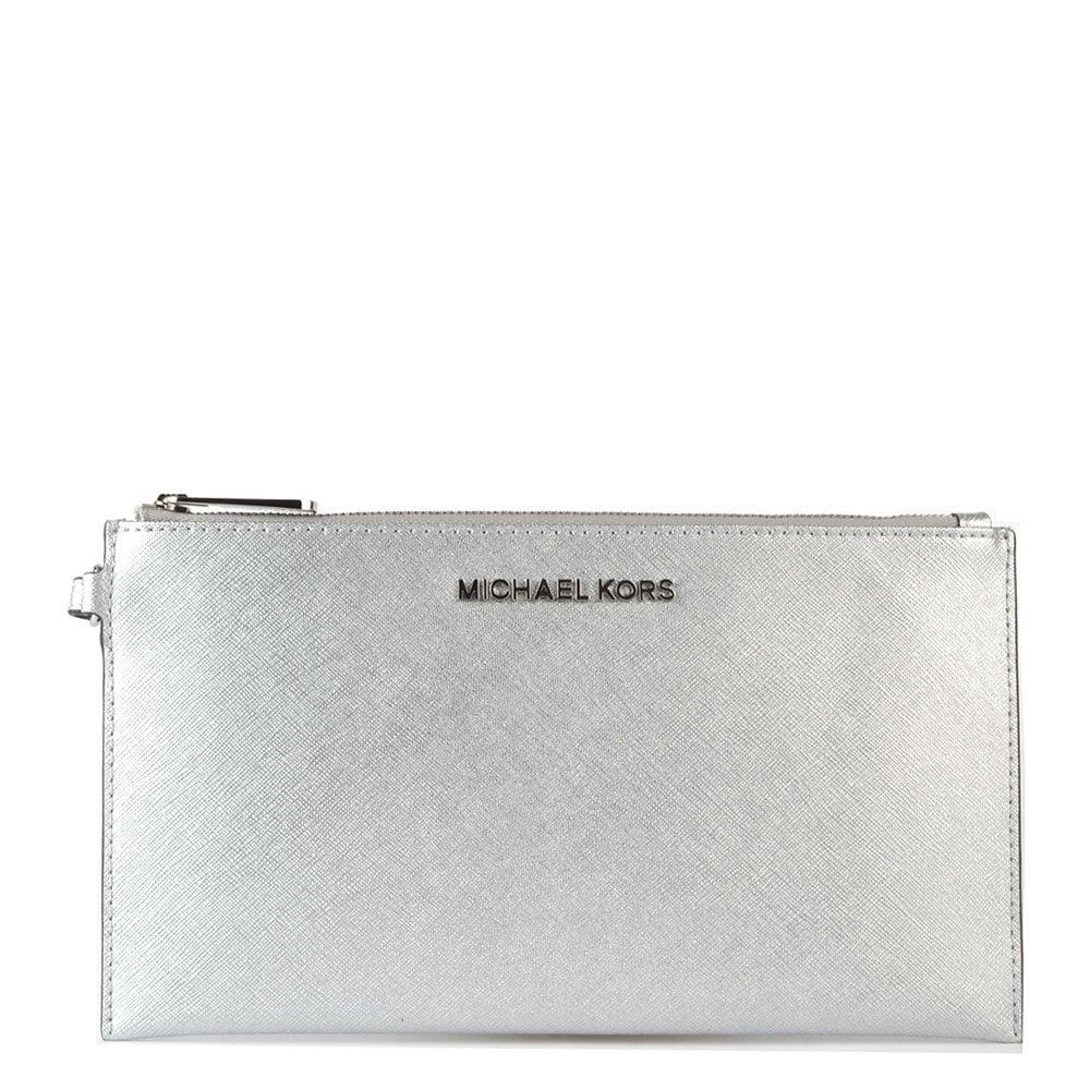 ef156687b95ad MICHAEL by Michael Kors Jet Set Travel Silver Large Zip Clutch ...