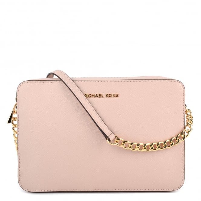 MICHAEL by Michael Kors Jet Set Travel Soft Pink Saffiano Large Crossbody Bag