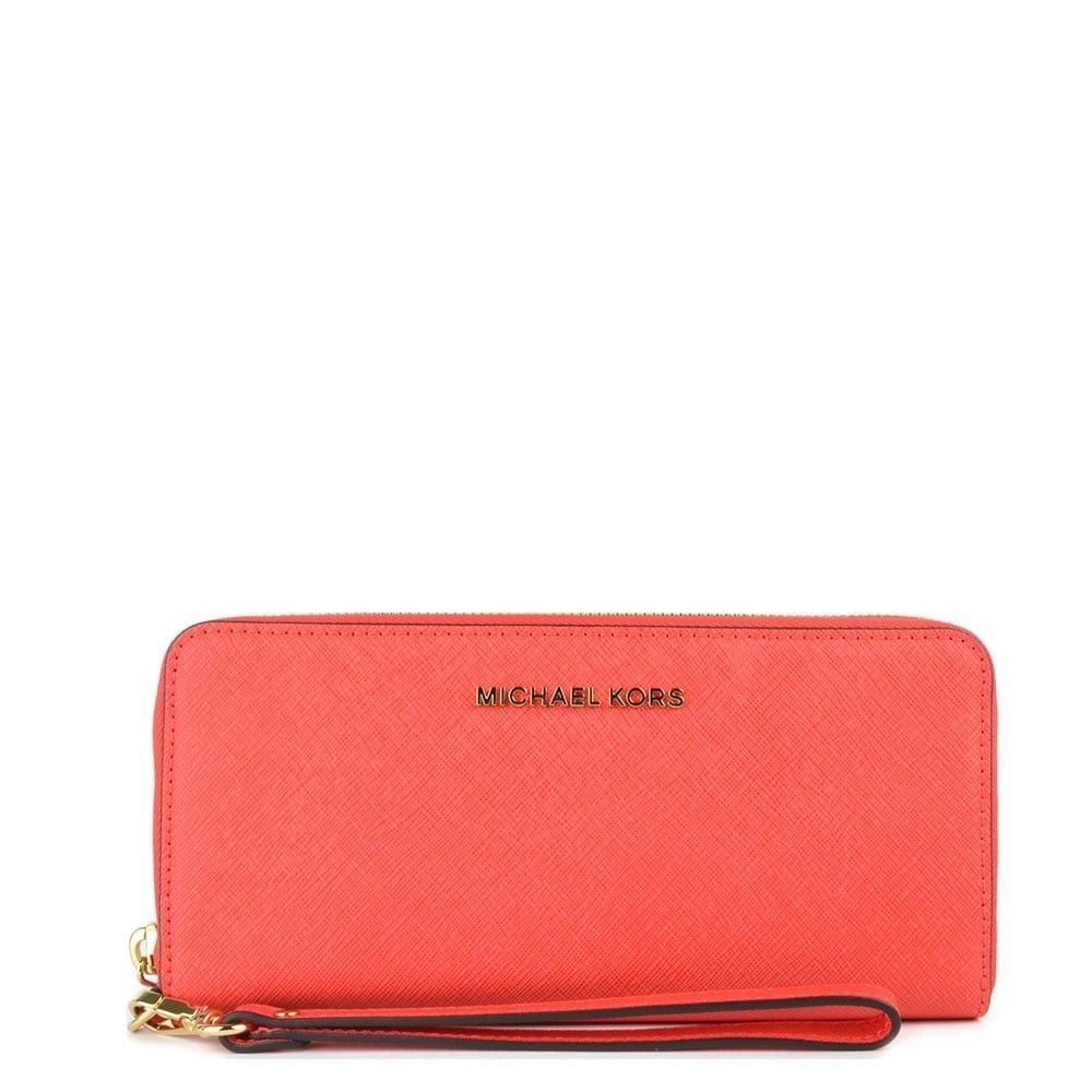 53e373d55cce MICHAEL by Michael Kors Jet Set Travel Tech Coral Continental Wallet
