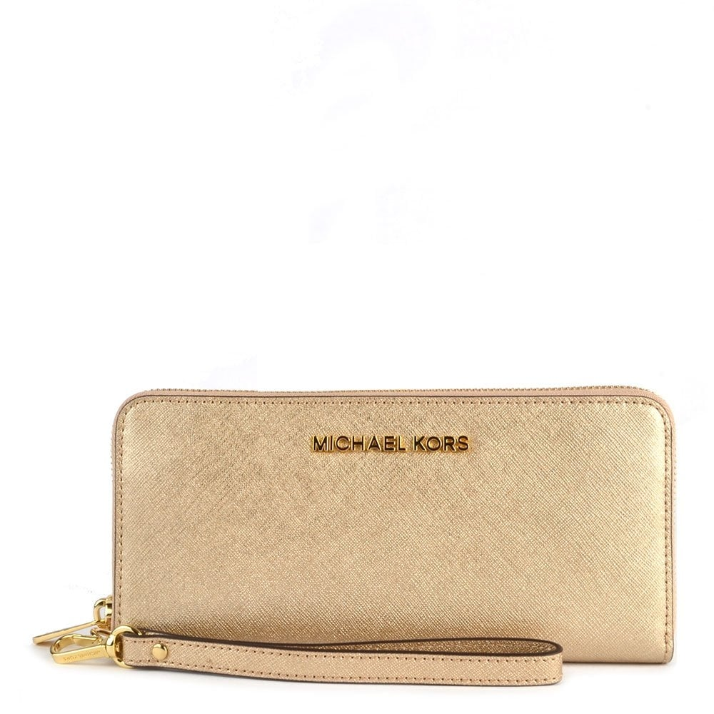 3bcc8d798382 MICHAEL by Michael Kors Jet Set Travel Tech Pale Gold Continental Wallet