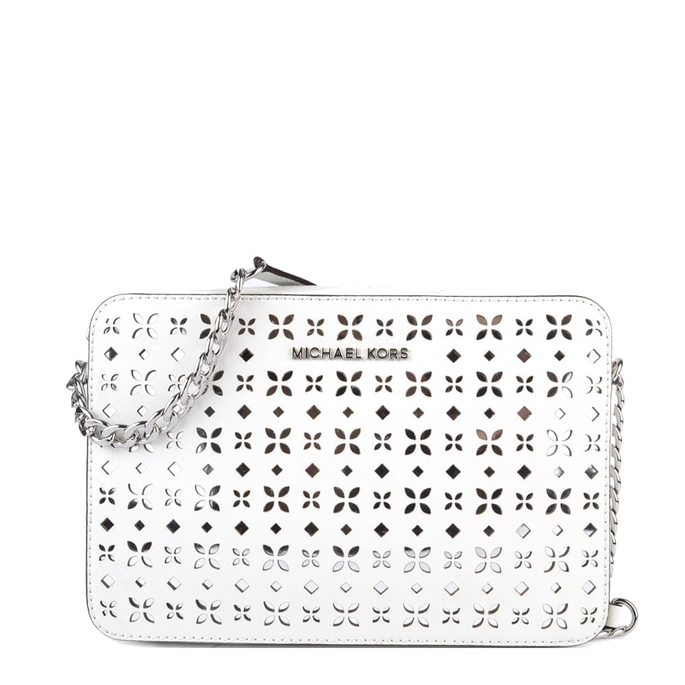 86e1d4ab41f6 MICHAEL by Michael Kors Jet Set Travel White Perforated Crossbody Bag