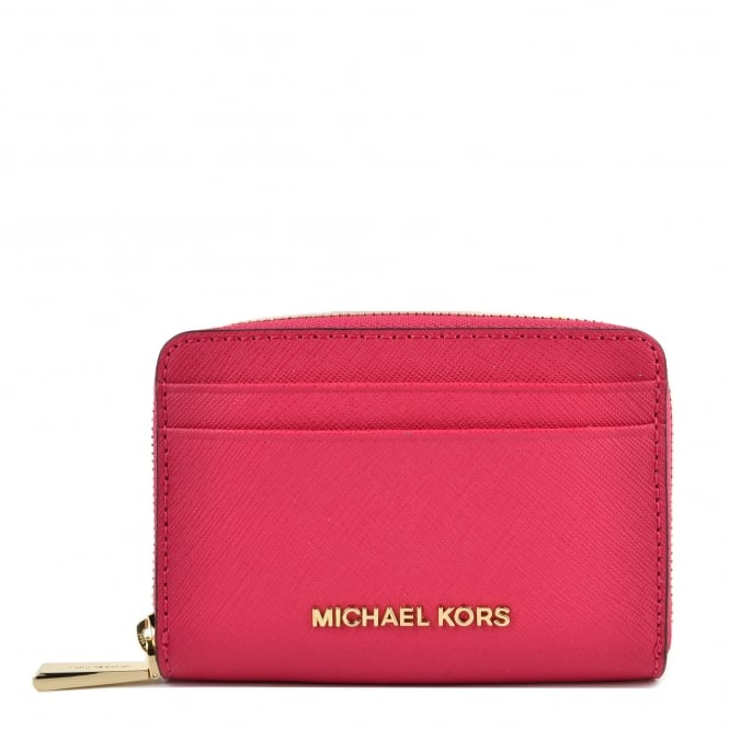 MICHAEL by Michael Kors Jet Set Ultra Pink Zip Around Card Case