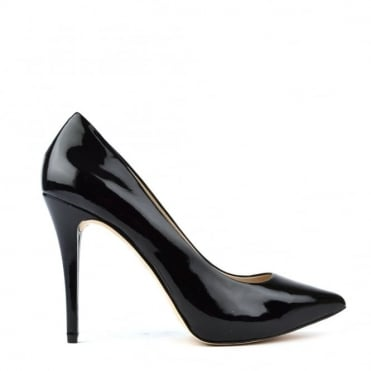 Joselle Black Patent Heeled Pump