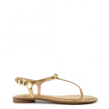 Josie Metallic Pale Gold Python Effect Thong Sandal