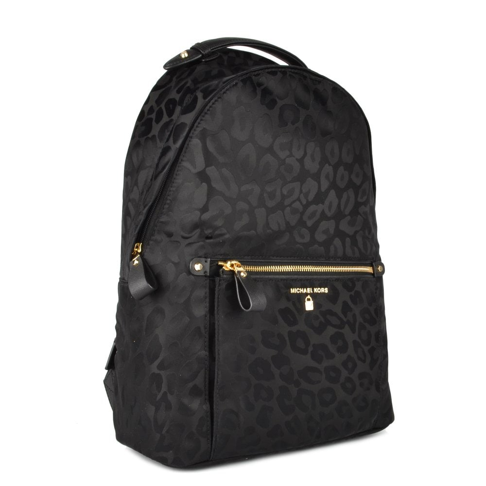 eb13a2f624897d MICHAEL by Michael Kors Kelsey Black Leopard Print Nylon Backpack
