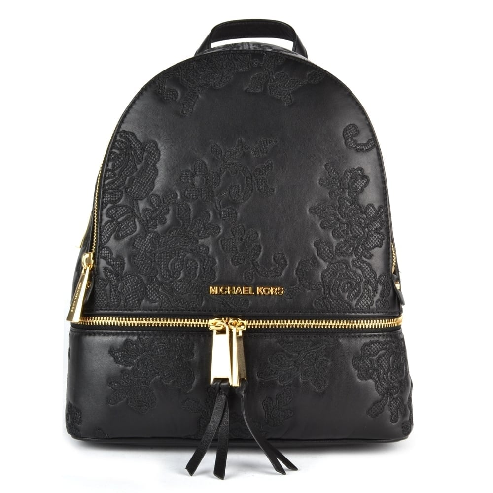 2759536003e9 MICHAEL by Michael Kors Lace Black Leather Embroidered Medium Backpack