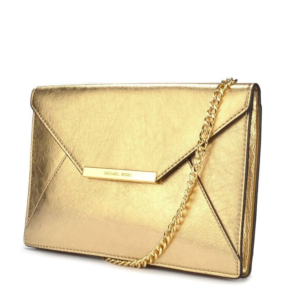 cf4841fcabbb24 MICHAEL by Michael Kors Lana Pale Gold Envelope Clutch - Women from ...
