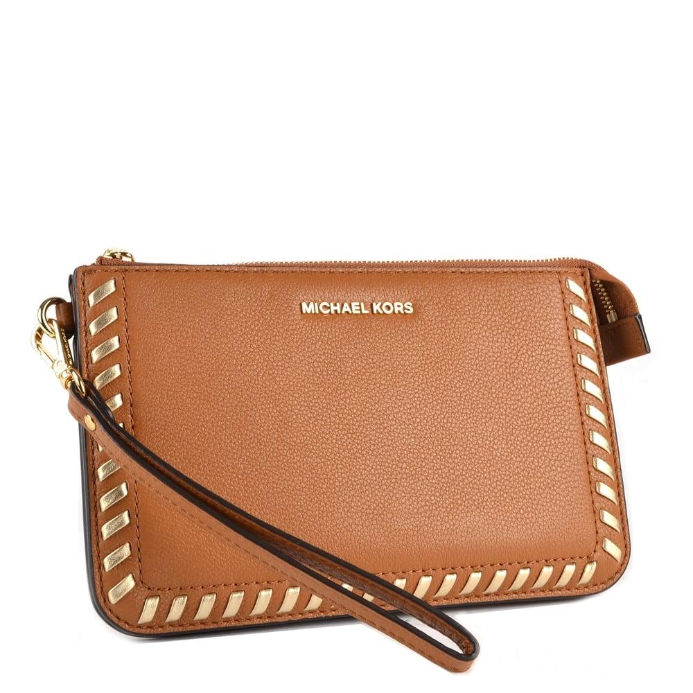 063c0db214d386 MICHAEL MICHAEL KORS Lauryn Acorn Leather Wristlet