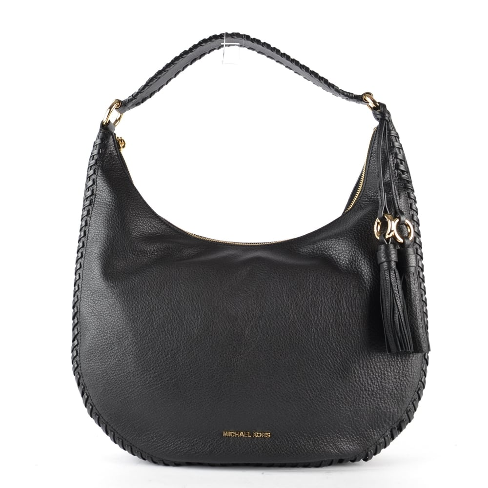 d343ccbcfa91 MICHAEL MICHAEL KORS Lauryn Black Leather Shoulder Bag