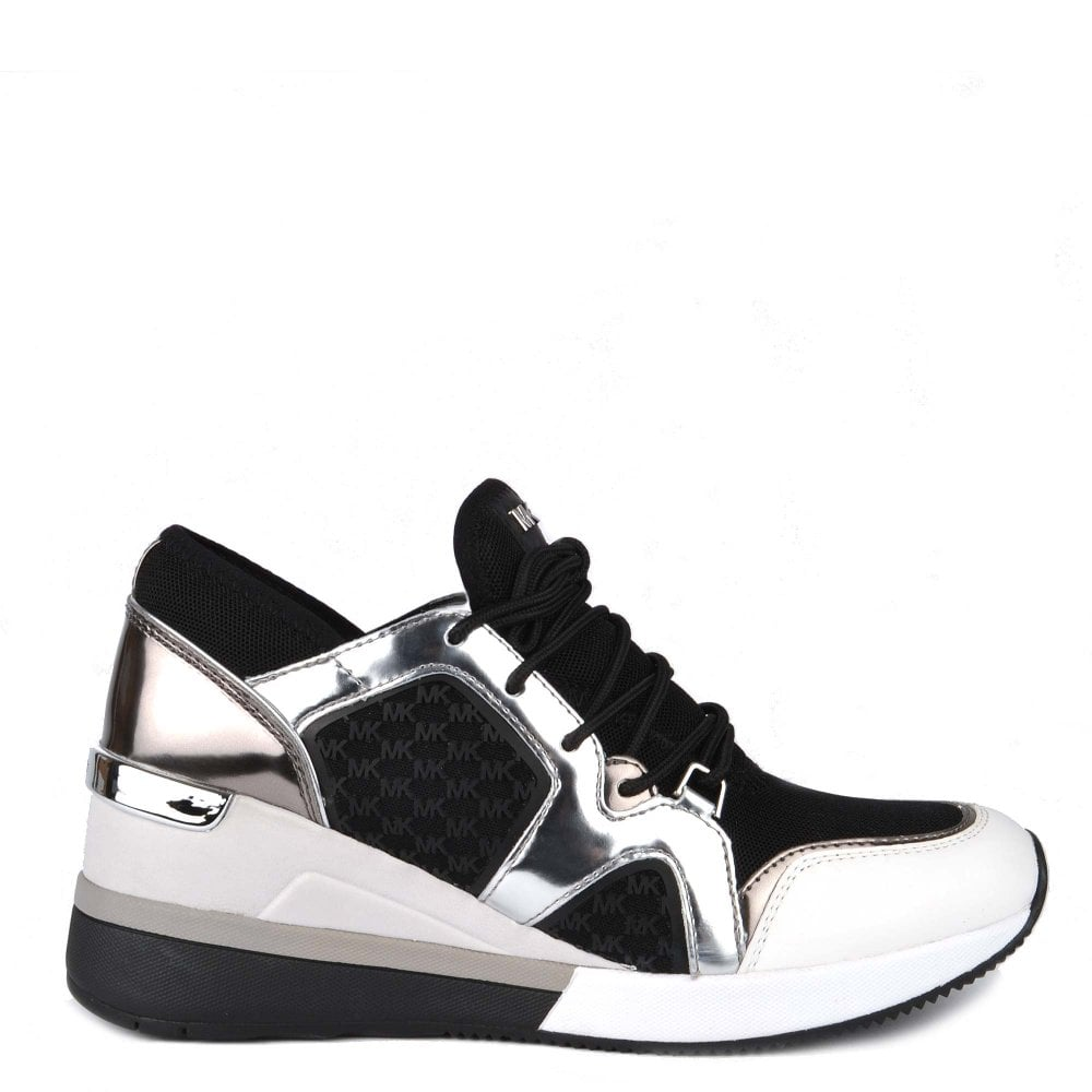 1c23ff4b347 MICHAEL by Michael Kors Liv Black and Gunmetal Trainer