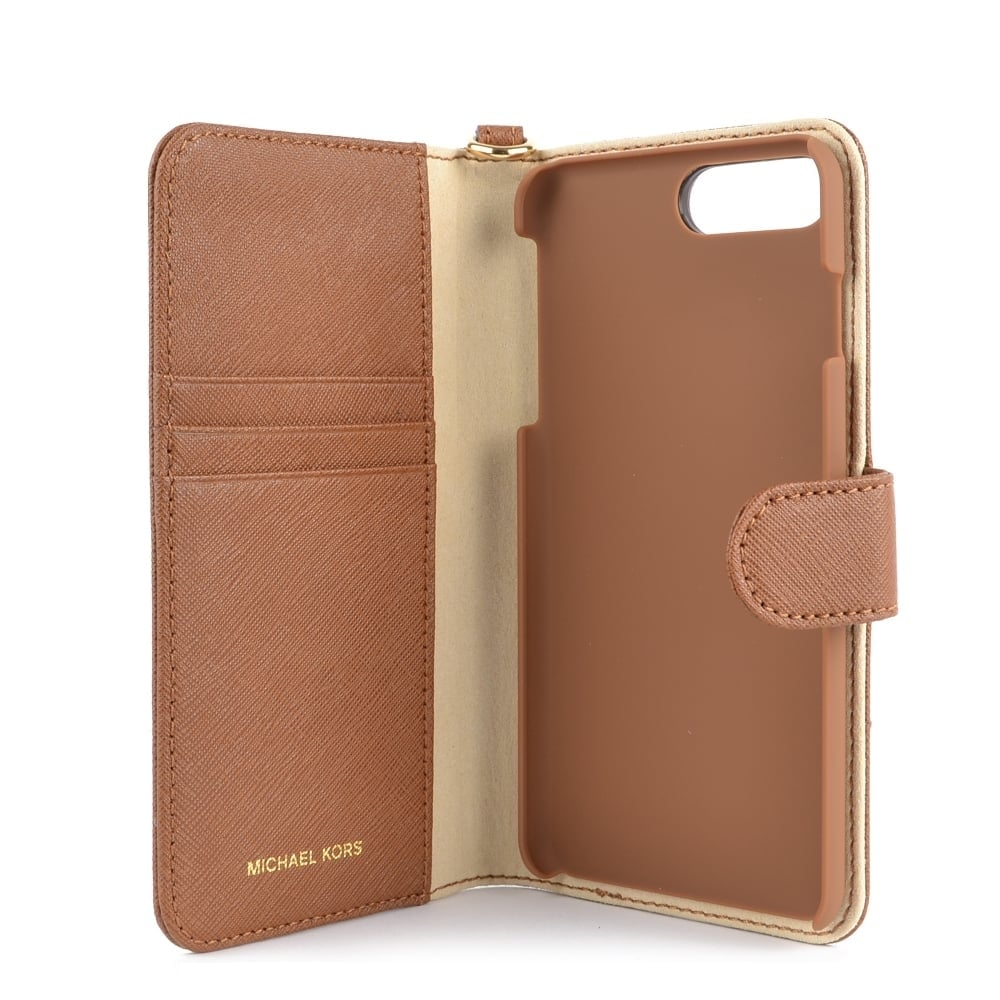 MICHAEL MICHAEL KORS Luggage Brown Leather iPhone 7 Plus Phone Case