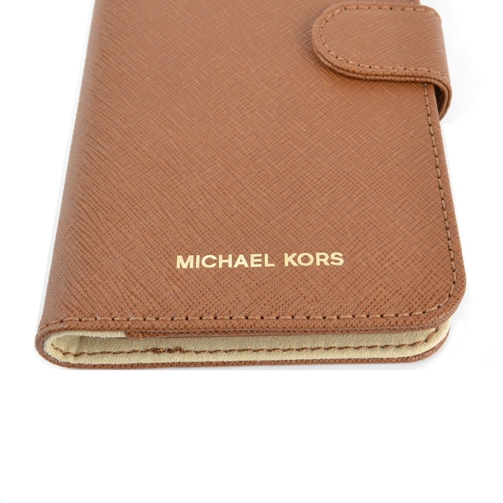 f4f3bf15ce32b1 MICHAEL MICHAEL KORS Luggage Brown Leather iPhone 7 Plus Phone Case