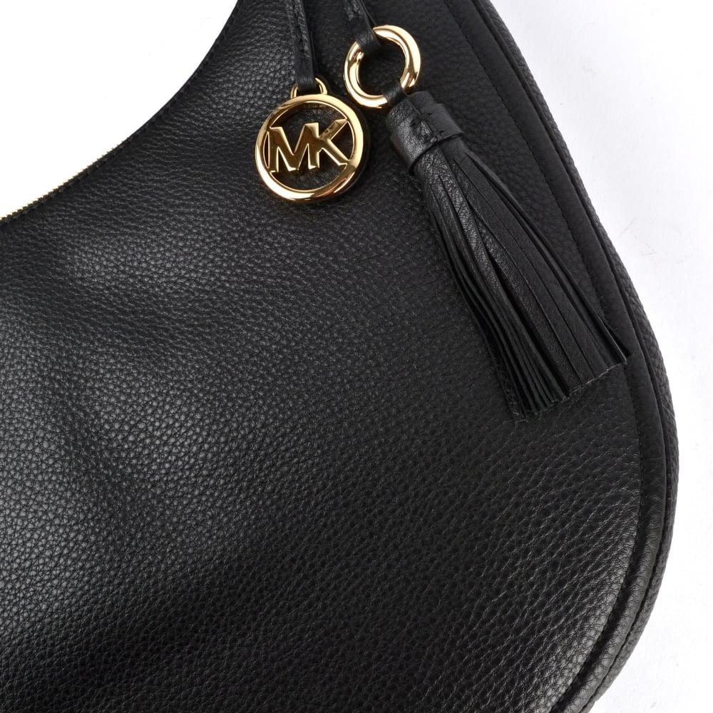 c885e53e9108 MICHAEL MICHAEL KORS Lydia Black Leather Large Hobo Bag