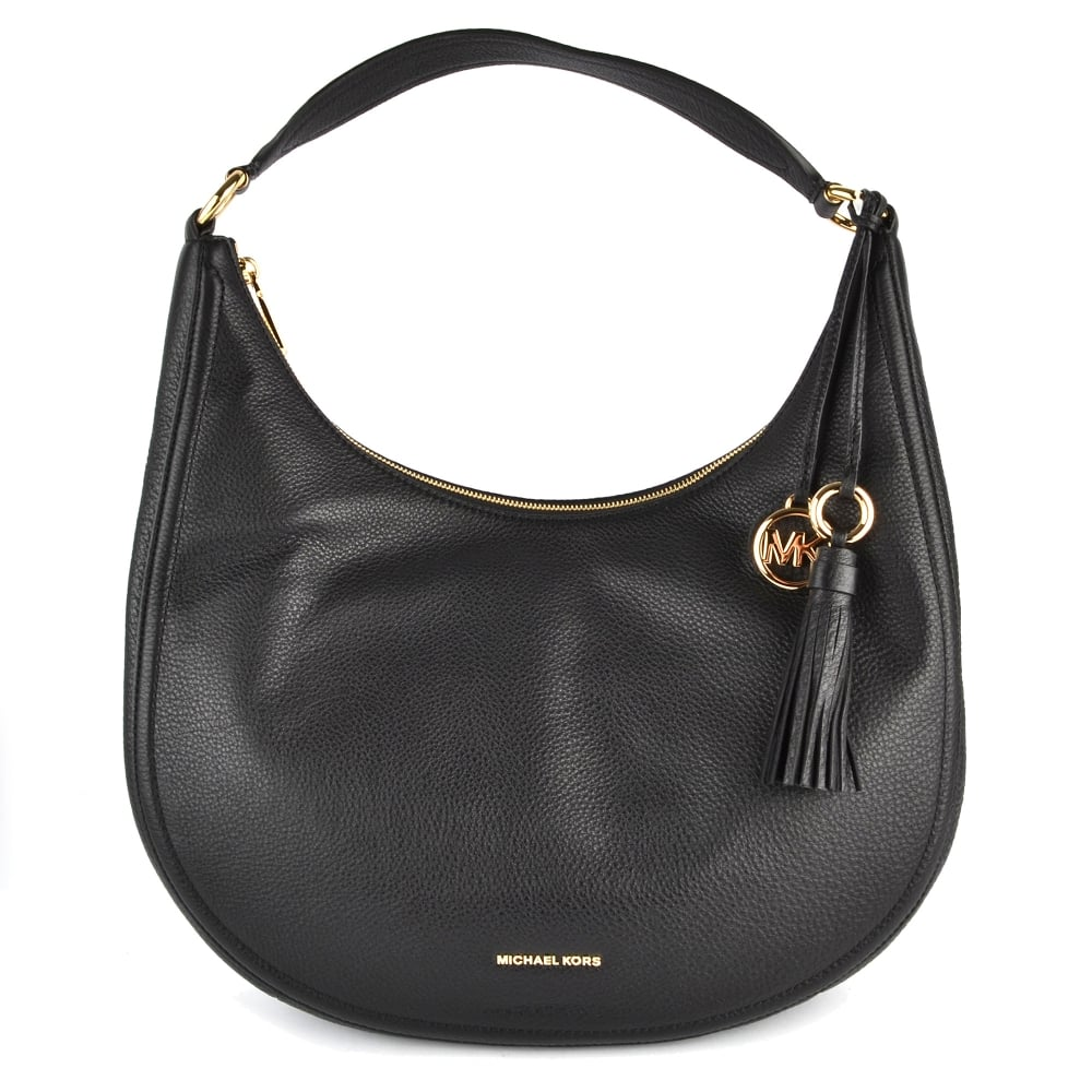 fdb1911ba4264 MICHAEL by Michael Kors Lydia Black Leather Large Hobo Bag