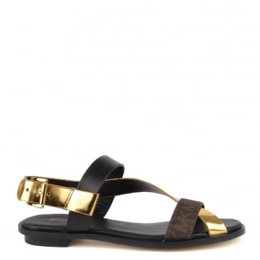 Mackay Black and Gold Flat Sandal