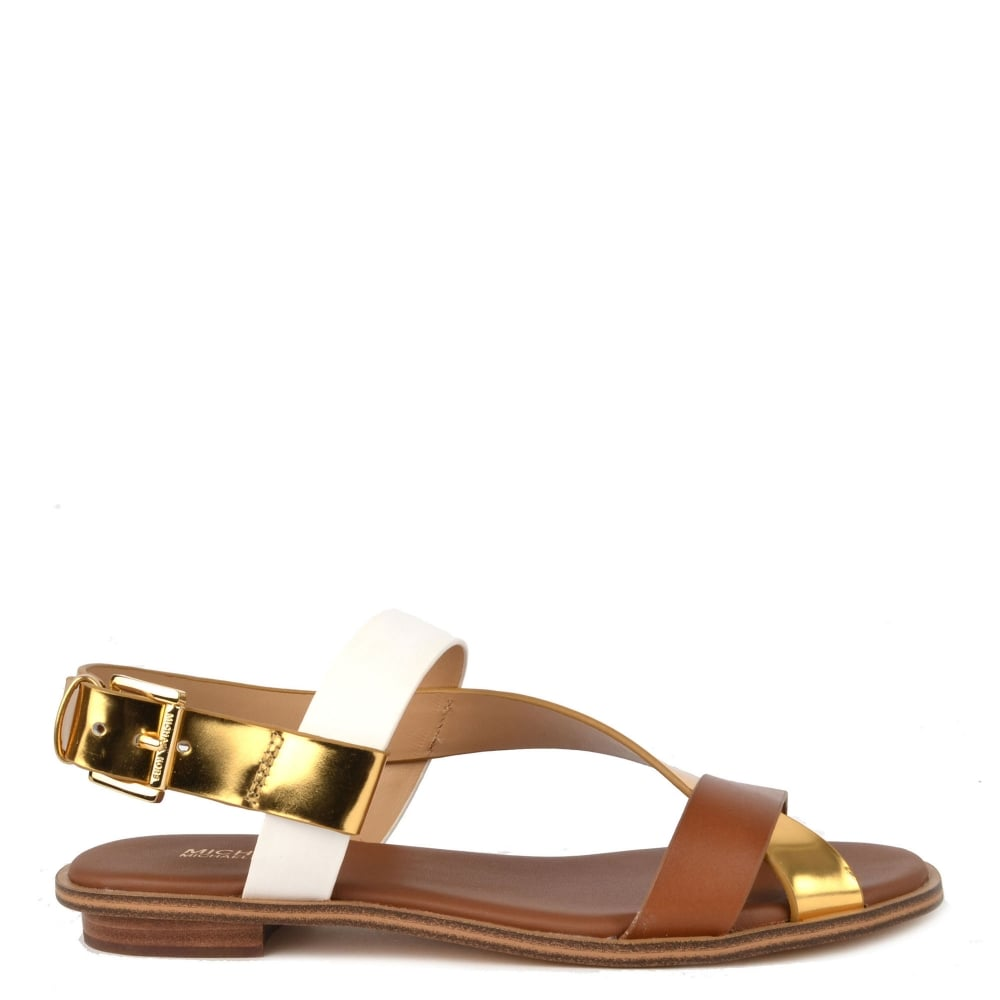 6ad974cb6f MICHAEL by Michael Kors Mackay Gold and Luggage Flat Sandal