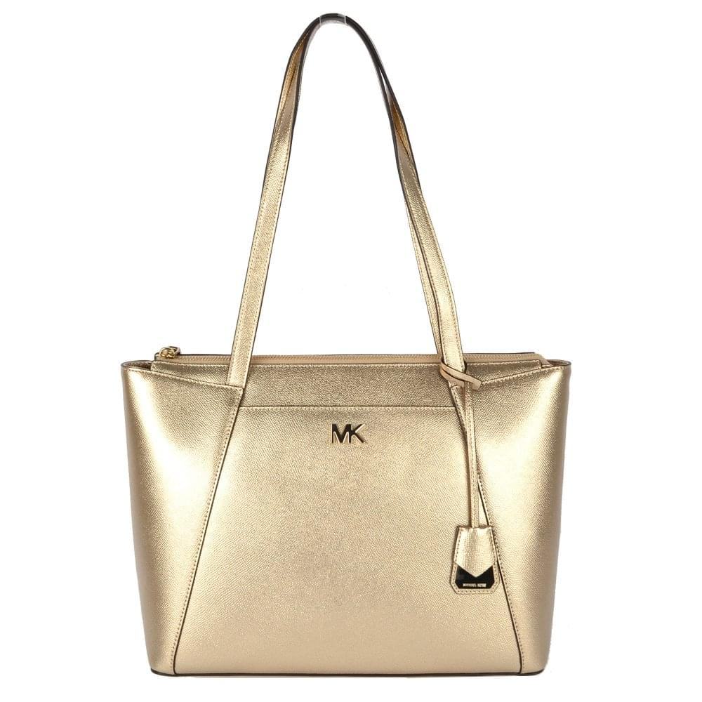 d94d17a80bbc MICHAEL by Michael Kors Maddie Metallic Pale Gold Leather Medium Tote