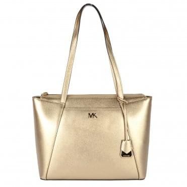 Maddie Metallic Pale Gold Leather Medium Tote
