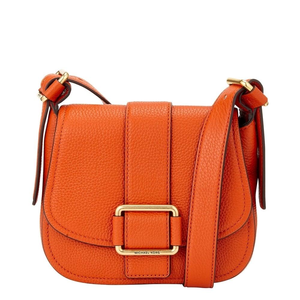40dbf9728153 MICHAEL by Michael Kors Maxine Orange Leather Medium Saddle Bag