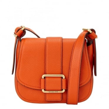 Maxine Orange Leather Medium Saddle Bag