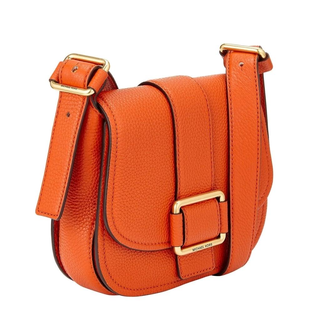 01ff897bd6f MICHAEL MICHAEL KORS Maxine Orange Leather Medium Saddle Bag