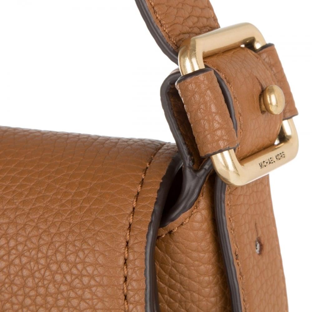 719c4af32f567 MICHAEL MICHAEL KORS Maxine Tan Leather Medium Saddle Bag