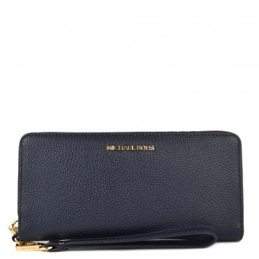 Mercer Admiral 'Navy' Leather Continental Wristlet