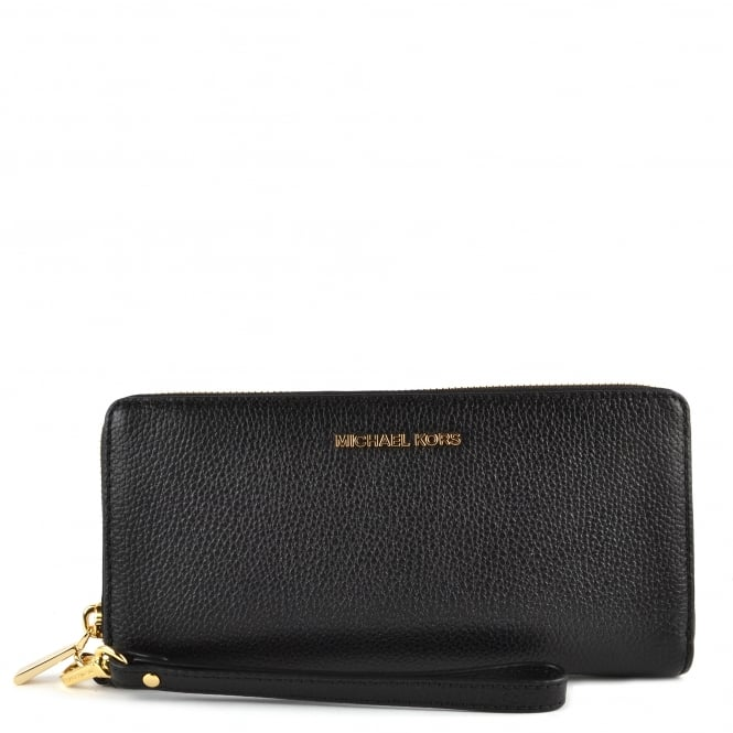 MICHAEL by Michael Kors Mercer Black Leather Continental Wristlet