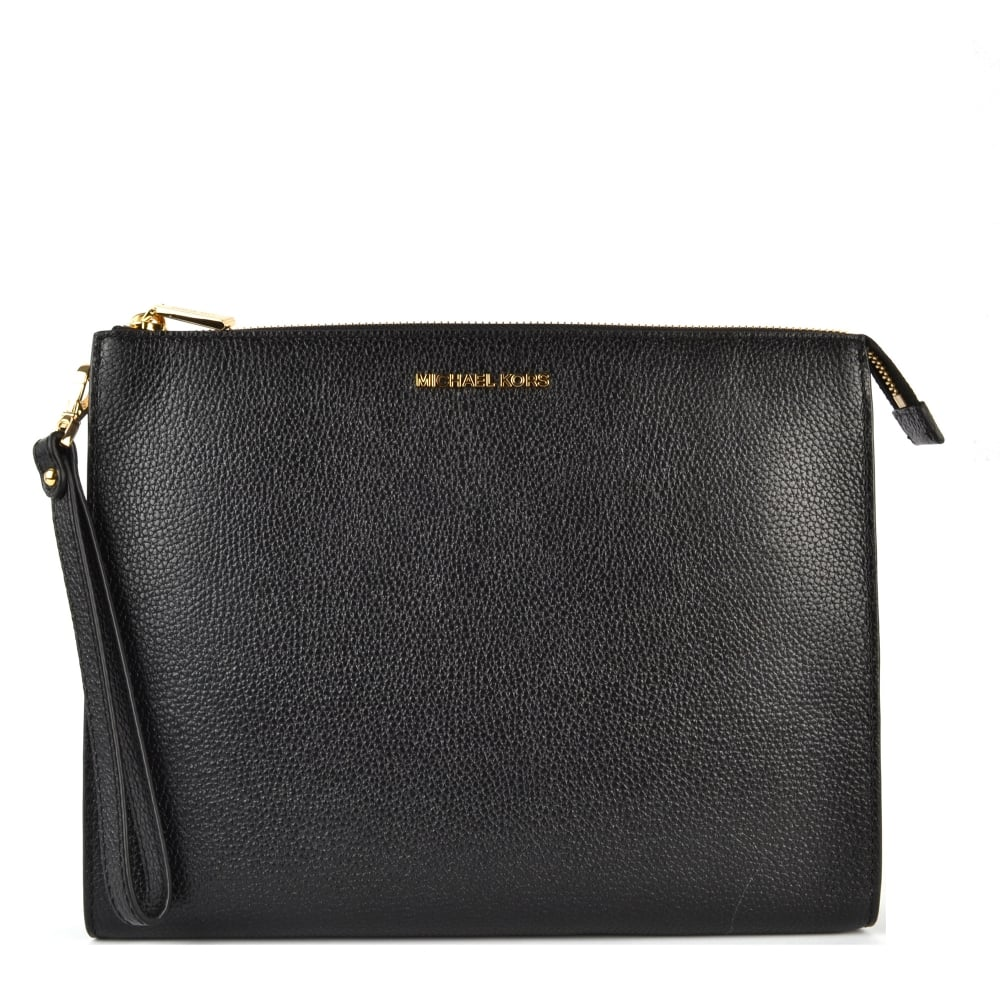 f2f21bd92117 MICHAEL by Michael Kors Mercer Black Leather Travel Pouch