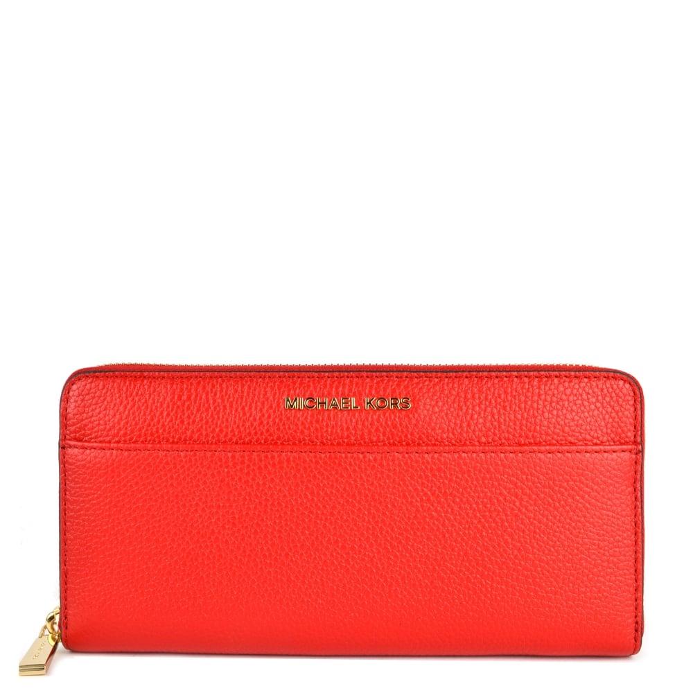 47b41e250df0de MICHAEL MICHAEL KORS Mercer Bright Red Continental Zip Around Wallet