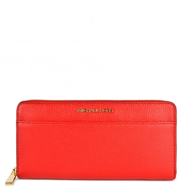 MICHAEL by Michael Kors Mercer Bright Red Pocket Zip Around Wallet
