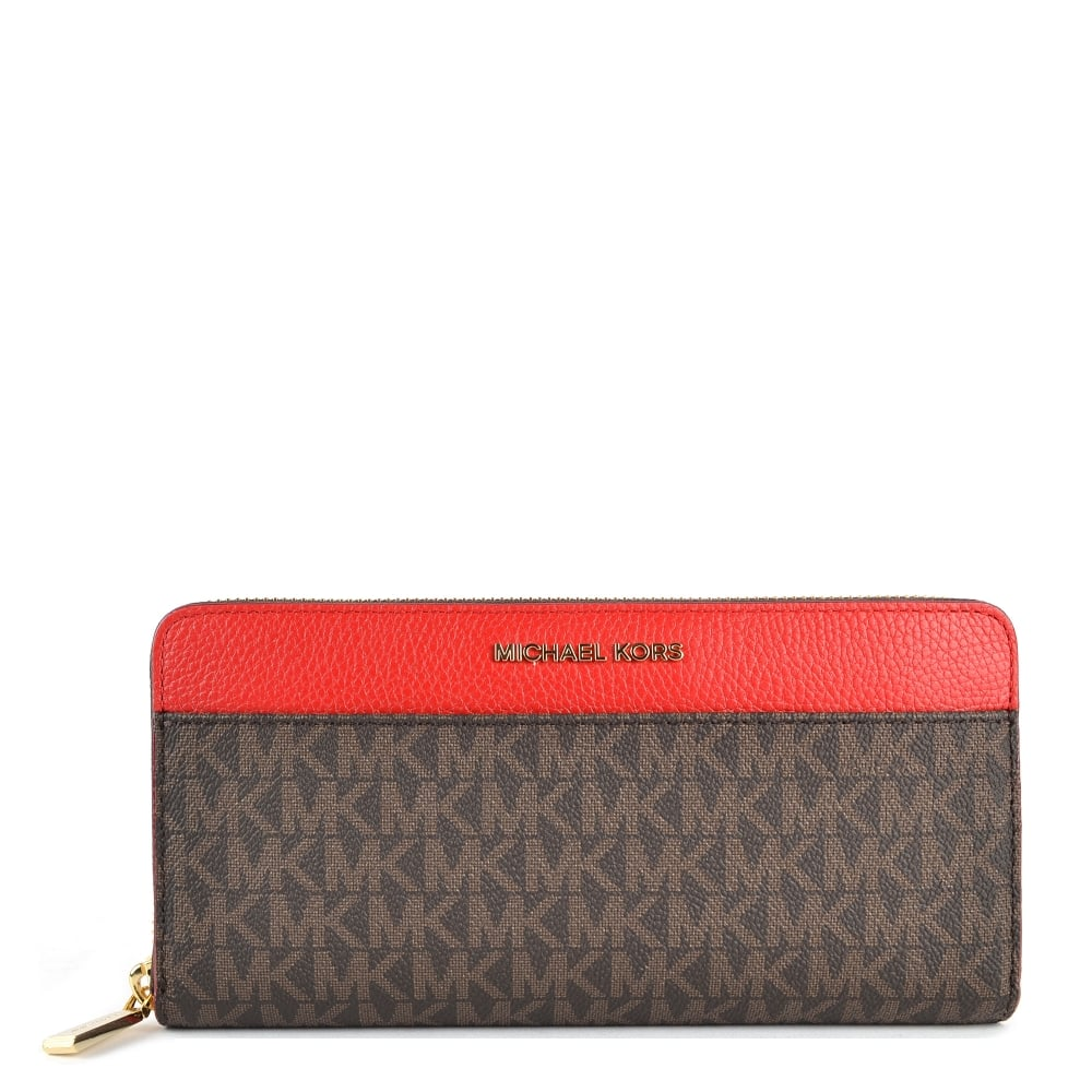 9237416e373578 MICHAEL by Michael Kors Mercer Brown and Bright Red Pocket Zip Around Wallet