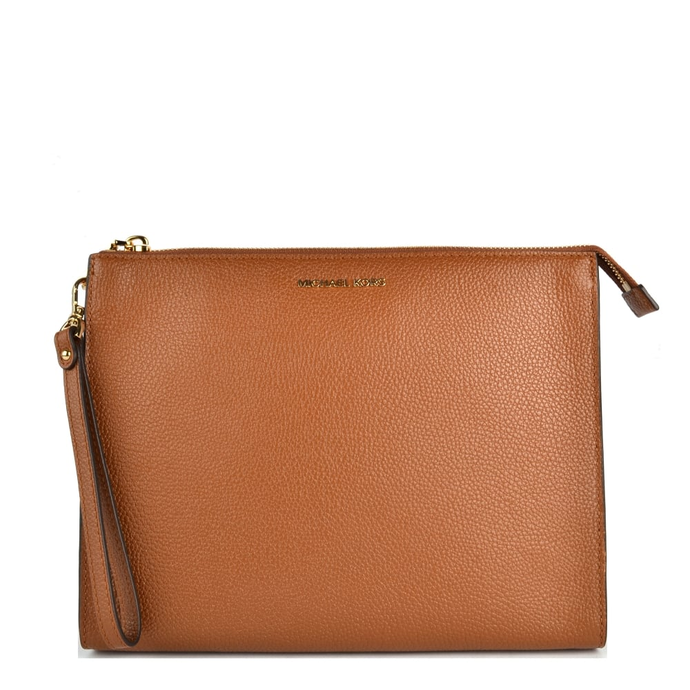 f0346e2809ef MICHAEL by Michael Kors Mercer Luggage  Tan  Leather Travel Pouch