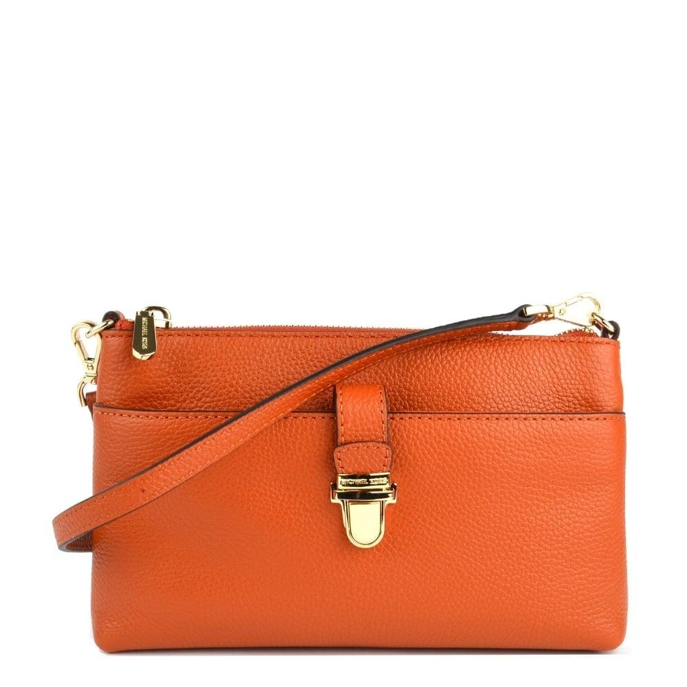 9bac706055e7 MICHAEL by Michael Kors Mercer Orange Medium Snap Pocket Crossbody Bag