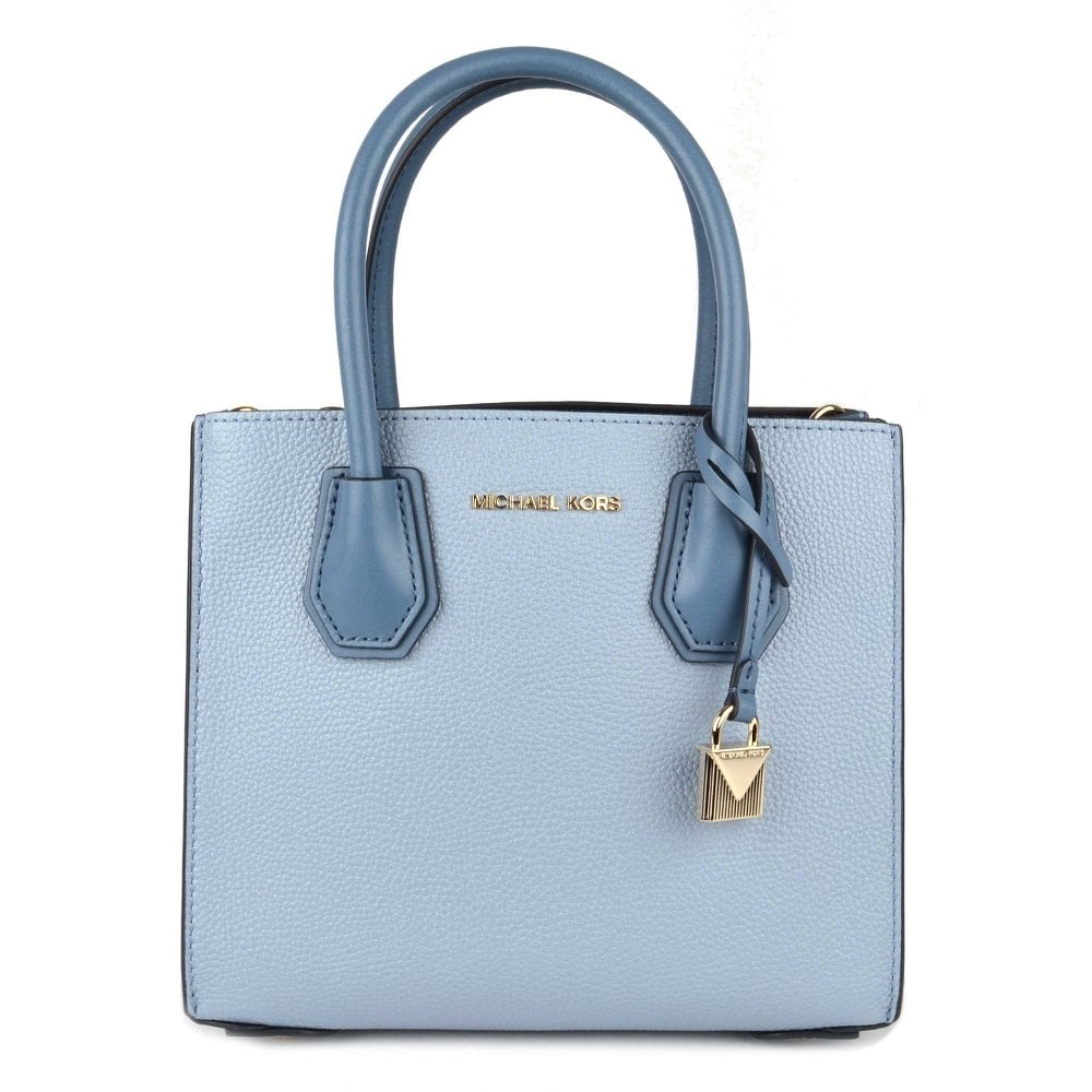2e4b4e5f8 ... discount code for michael by michael kors mercer pale blue leather  accordion messenger bag ed254 a7b47