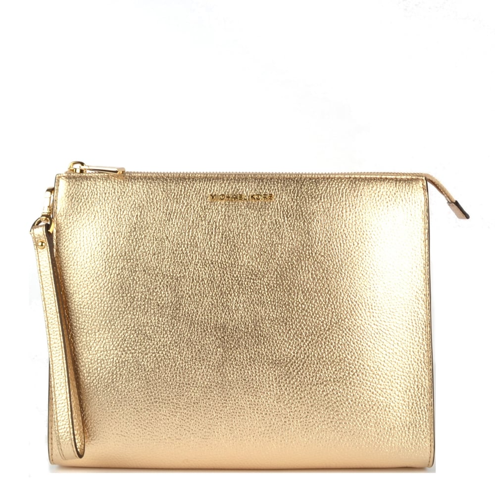 14387ca4ecad MICHAEL by Michael Kors Mercer Pale Gold Leather Travel Pouch