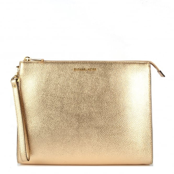 MICHAEL by Michael Kors Mercer Pale Gold Leather Travel Pouch