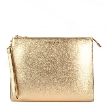 Mercer Pale Gold Leather Travel Pouch