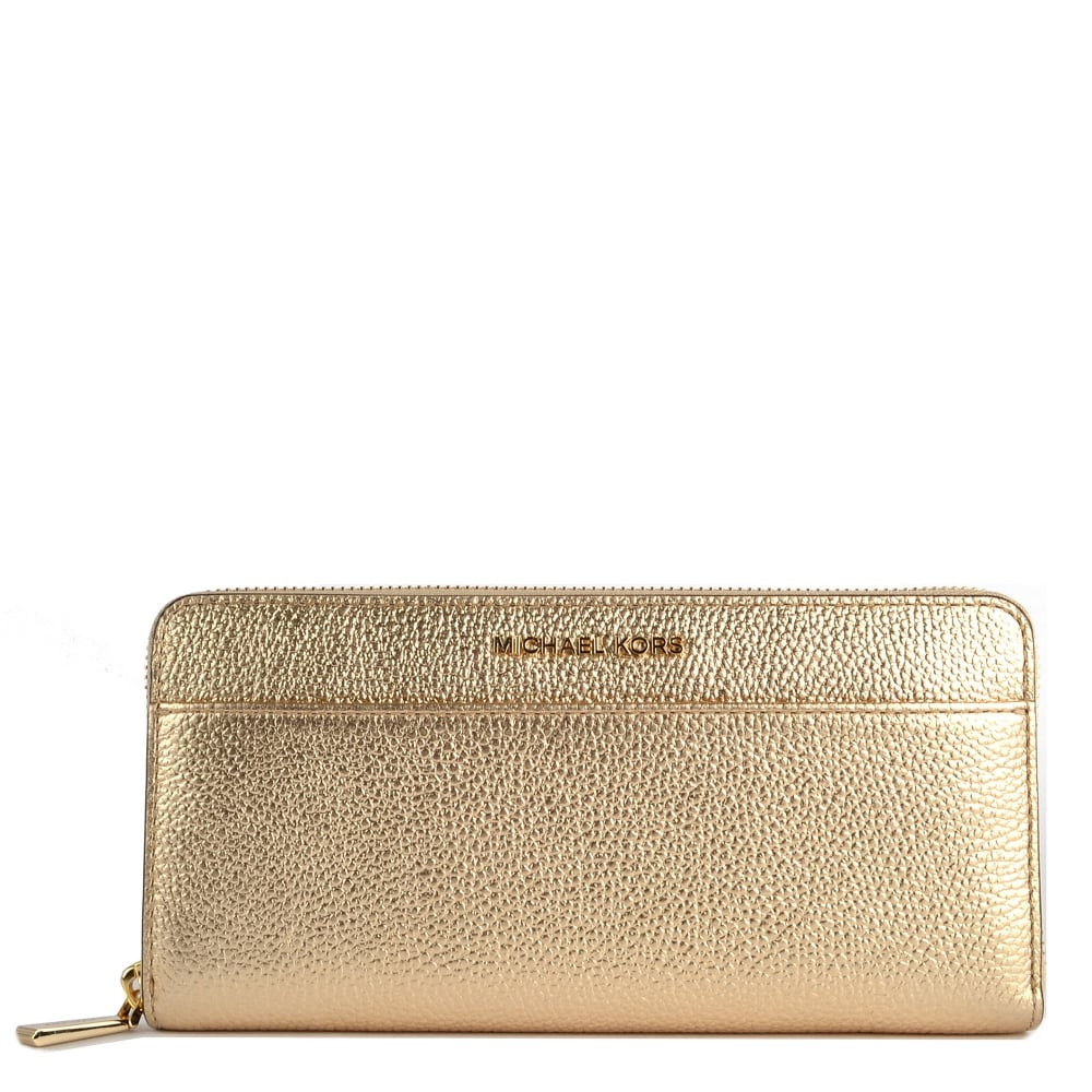 9c0a66f927f2 MICHAEL by Michael Kors Mercer Pale Gold Pocket Zip Around Wallet